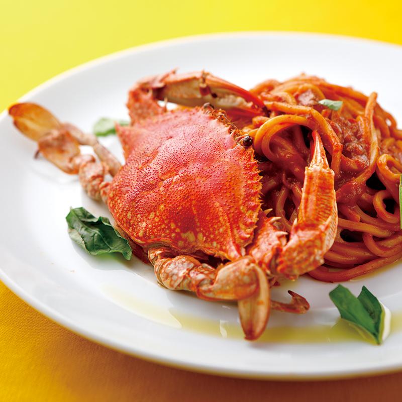 渡り蟹の濃厚トマトソース低加水極太パスタ